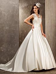 LAN TING BRIDE Trapèze Princesse Robe de mariée - Elégant & Luxueux Brillant & Séduisant Transparent Traîne Brosse Reine AnneDentelle