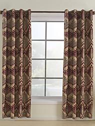 (Um par) cortina de poupança de energia contemporânea floral vermelho