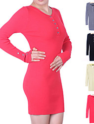 Women's Round Neck Long Sleeve Slim Sweater Pullovers Jumper Mini Dress