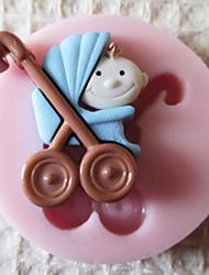 Mold 3D Bebê Carrige Silicone Fondant Moldes Sugar Craft Moldes de chocolate para bolos