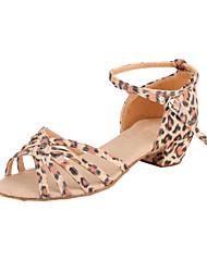 Stylish Kid's / Women's leopard Satin Upper Ankle Strap Satin Latin / Performance Dance Shoes