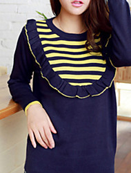Folli Lovely RuffleSplicing Stripes Knit Shirt
