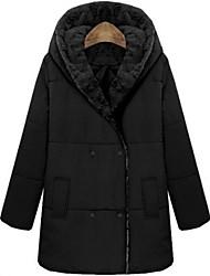 Miaojia Women's Black Fur Lapel Thick Tweed Coat