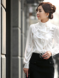 ER Women's Long Sleeve Solid Color Shirt