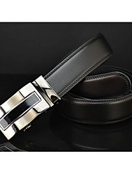 Haiqun Men's Stripe Automatic Buckle 100-135Cm Cowhide Two Layers Leather Belt