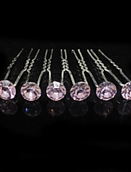 Six Pieces Alloy Wedding Bridal Hairpins With Rhinestones(More Colors)