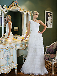 Lan Ting Sheath/Column Plus Sizes Wedding Dress - Ivory Sweep/Brush Train One Shoulder Chiffon