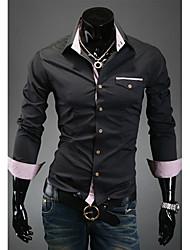 Men's Long Sleeve Shirt , Cotton Blend Formal Pure