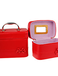 2 in 1 Red PU-Leder Cosmetic Box