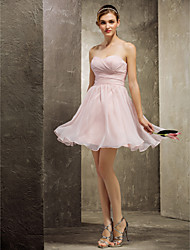 Lanting Bride® Short / Mini Chiffon Bridesmaid Dress A-line Sweetheart Plus Size / Petite with Criss Cross / Ruching