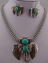 Ретро стиль слон зеленый отложения солей ожерелье и серьги для женщин