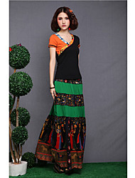 Women's Bohemia Pattern Splice Casual Long Skirt