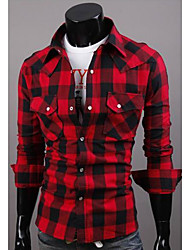 KALO Classic Long Sleeve Check Pattern Cotton Shirt(Red)