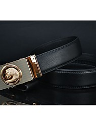 Haiqun Men's G Pattern Vintage Design 100-135CM Cowhide Two Layers Leather Belt
