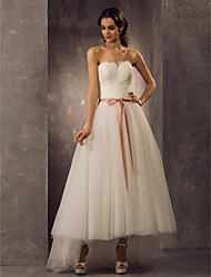 Lanting Bride A-line / Princess Petite / Plus Sizes Wedding Dress-Asymmetrical Sweetheart Tulle
