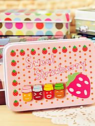 Rectangle Strawberry Pattern Tin Box