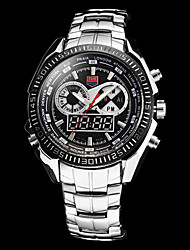Men's Analog-Digital Multi-Function Silver Steel Band Wrist Watch (Assorted Colors)