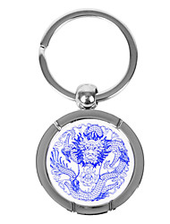 Personalized Round Blue-and-white Porcelain Style Keychain - Dargon