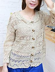 Folli Korean Doll Collar Long Sleeve Knit Shirt