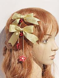 Or Bow et Red Stars Coiffe de Noël