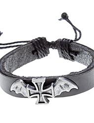 Unisex Cross Fabric Leather Bracelet