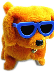 Funny Electric Walking Barking Dog Toy with Glasses(Powered by 4 AA Batteries Not included)