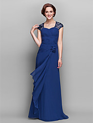 A-line Plus Sizes / Petite Mother of the Bride Dress - Dark Navy Floor-length Short Sleeve Georgette