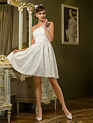 Lan Ting A-line Plus Sizes Wedding Dress - Ivory Knee-length One Shoulder Lace