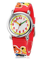 Children's 3D Cartoon Cubs Pattern Silicone Band Little Round Dial Quartz Analog Wrist Watch