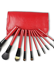 Pro High Quality 10 PCs Natural Goat Hair Makeup Brush Set with Snake Skin Pouch, Red & Coffee Color