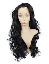 High Quality Synthetic Japanese Kanekalon Top Grade Lace Front Wig Black Long Wavy Hair Synthetic Wig