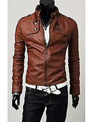 Mojay Men's Four Buttons Short Stand Collar Leather Coat