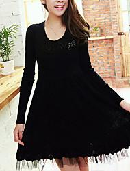 Folli koreanische dünne Rundhals Langarm-Kleid