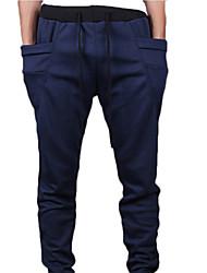 Calças homens de calças de estilo coreano de Slim com cordão elástico na cintura Haren Esportes