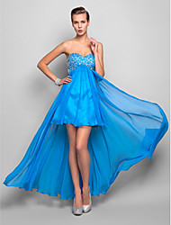 A-Line Sweetheart Asymmetrical Chiffon Cocktail Party Homecoming Holiday Dress with Crystal Detailing by TS Couture®