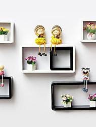Modern Black and White Creative Carbon Fiber Stoage Shelf (6 Pieces)