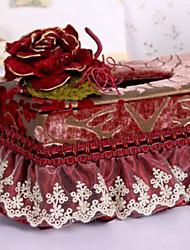 Fancy Euro lussureggiante ricamo floreale Tissue Box