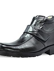 Men's Spring Summer Fall Winter Comfort Leather Office & Career Low Heel Braided Strap Black