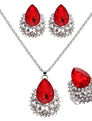 Jewelry Set Women's Wedding / Engagement / Birthday Jewelry Sets Alloy Ruby / Rhinestone Necklaces / Earrings Silver