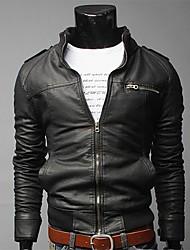 ДД Износ Мода молнии Декоративные Короткие похудения куртка (черный)