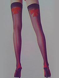 Red Bowknot Black Nylon Women's Halloween Stockings