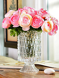 "11.5""H Modern Style Roses in Glass Vase"