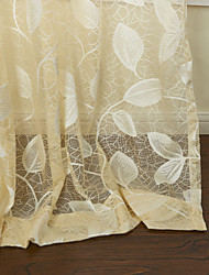 (Two Panels) Country Elegant Beige Leaves Knitted Sheer Curtain