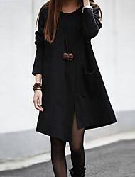 Moda para adelgazar de vestir de manga larga de color sólido (Negro)