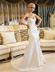 Mermaid / Trumpet Sweetheart Court Train Satin Wedding Dress with Draped by LAN TING BRIDE®