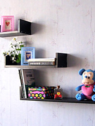 Modern Black Creative Wood Hanging Storage Shelf