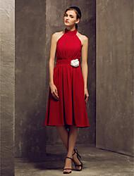 Lanting Knee-length Chiffon Bridesmaid Dress - Ruby Plus Sizes / Petite A-line High Neck