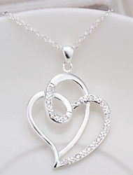Sweet (Heart Pendant) Silver Copper Pendant Necklace(White) (1 Pc)
