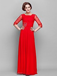 Sheath/Column Plus Sizes Mother of the Bride Dress - Ruby Floor-length 3/4 Length Sleeve Chiffon/Tulle