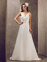 LAN TING BRIDE A-line Wedding Dress - Elegant & Luxurious Glamorous & Dramatic Simply Sublime Sweep / Brush Train V-neck Satin with